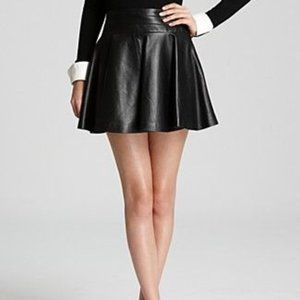 Milly Delphine Swirl Pleated Leather Mini Skirt